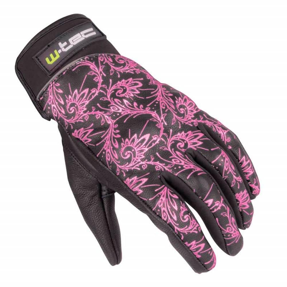 W-Tec Dámske kožené moto rukavice W-TEC Malvenda NF-4208 Farba čierna s ružovou grafikou, Veľkosť XS